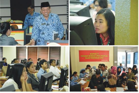 Pelaksanaan Tes Kompetensi Dasar (TKD) pada Seleksi Calon Pegawai Negeri Sipil (CPNS) Badan Kepegawaian Negara (BKN) Tahun Anggaran 2014, Kantor Pusat BKN, Jakarta, Senin (10/11/2014).