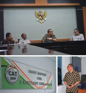 Wakil Kepala BKN Bima Haria Wibisana (berbatik gelap) saat melakukan kunjungan kerja di wilayah kerja Kantor Regional VI BKN Medan, Selasa, (18/11).