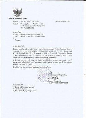 Contoh Surat Palsu Pengadaan Pns Ta 2014 2015 Badan Kepegawaian Negara