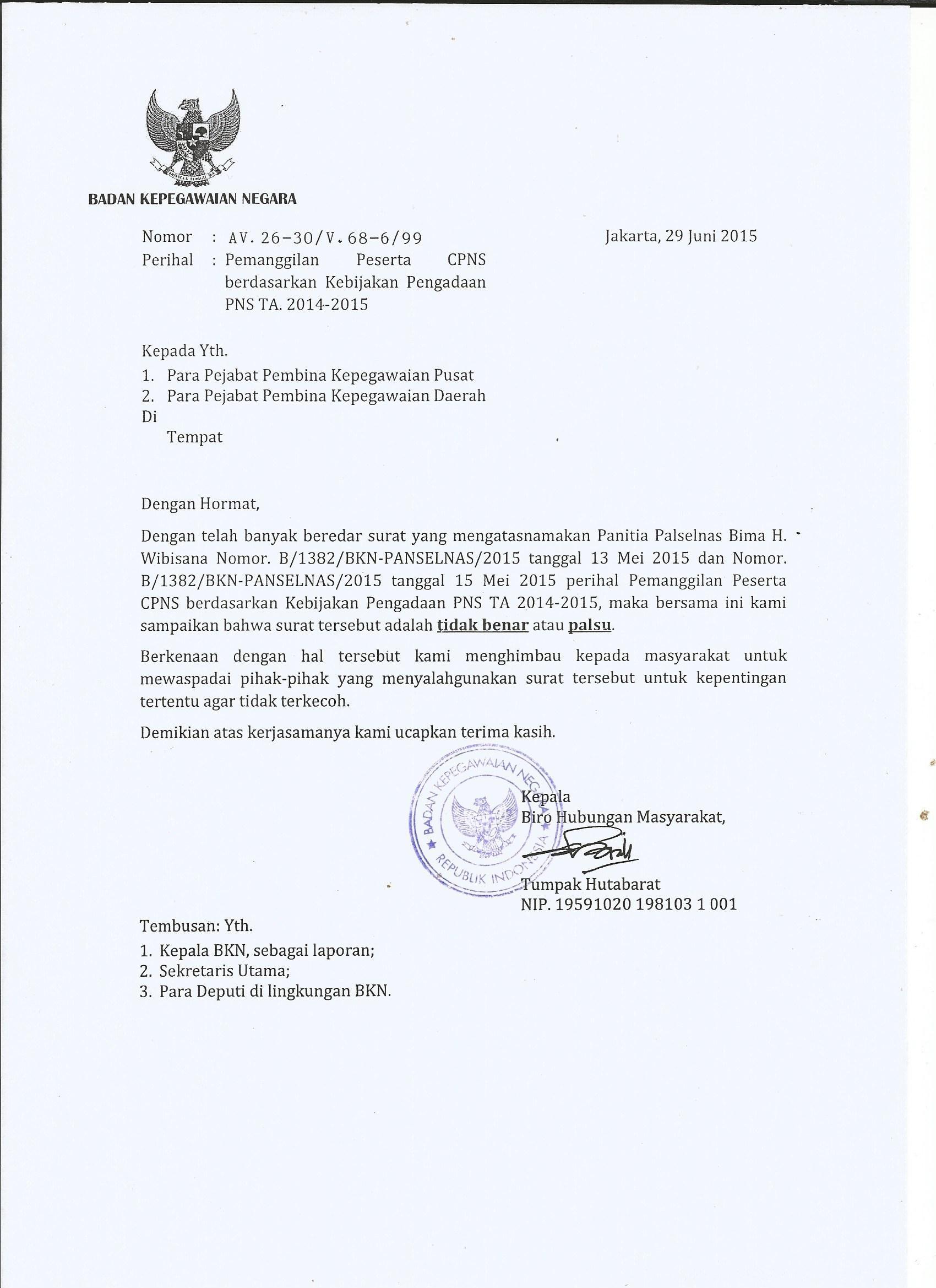 Contoh Surat Palsu Pengadaan Pns Ta 2014 2015 Badan
