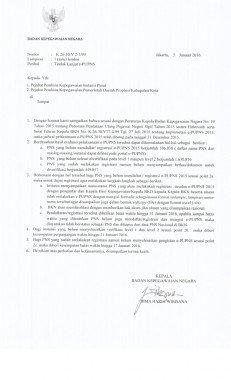 Surat Kepala BKN Tentang Tindak Lanjut e-PUPNS