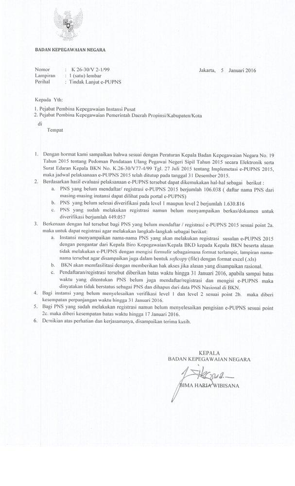 Surat Kepala BKN Nomor K 26-30/V 2-1/99