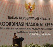 Rakornas Kepegawaian BKN 2016 dibuka oleh Wakil Presiden Republik Indonesia (Wapres RI) Jusuf Kalla.  (foto: Humas BKN)