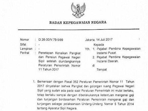 Surat Kepala BKN no. D.26-30/V.79-5/99