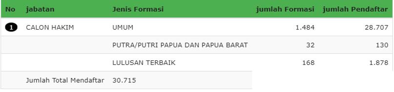 Rekap Pelamar MA (Dasboard SSCN)